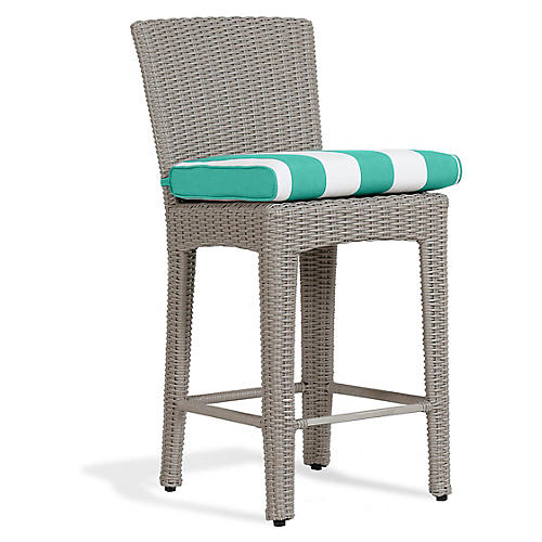 Manhattan Counter Stool, Turquoise/White