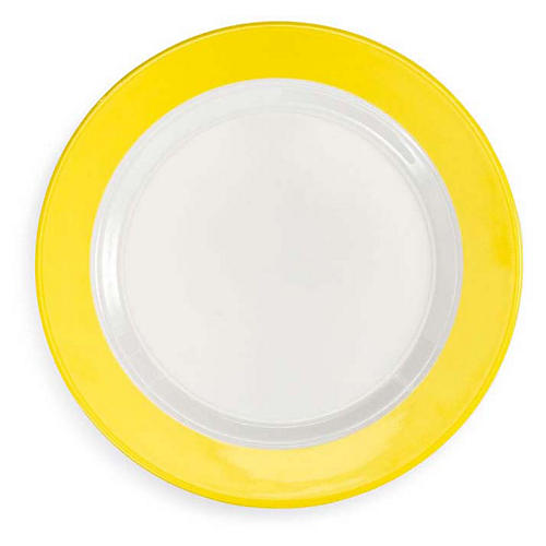 S/4 Bistro Melamine Salad Plates, Yellow/White