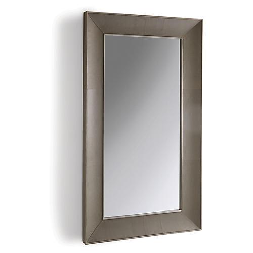 Churchill Leather Floor Mirror, Gray