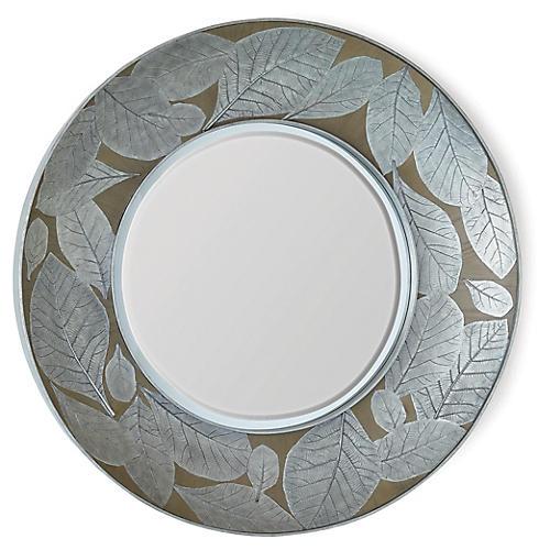 Teak Leaf Wall Mirror, Silver/Bronze