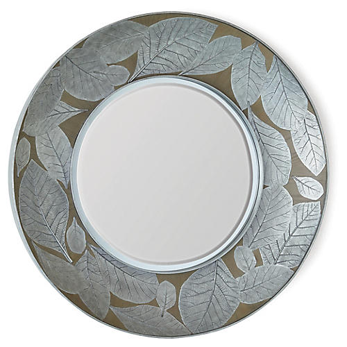 Teak Leaf Wall Mirror, Silver/Bronze