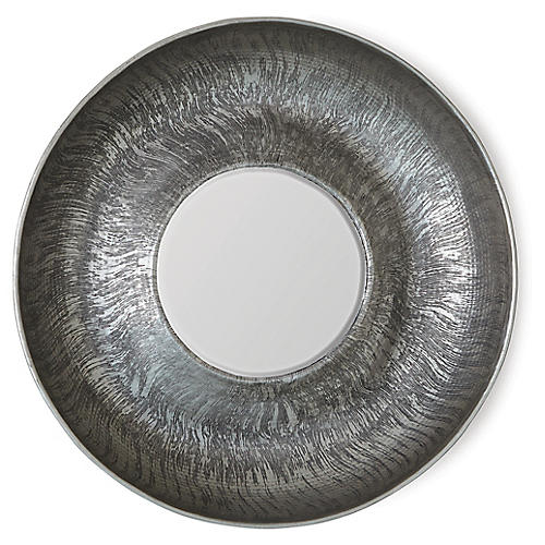 Sun-Etched Wall Mirror, Antiqued Nickel