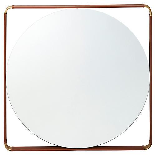 Juliette Square Wall Mirror, Bronze/Saddle
