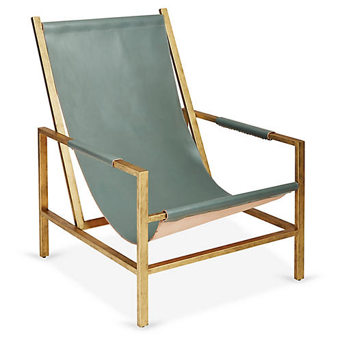 Wright Sling Chair, Bronze/Storm Leather