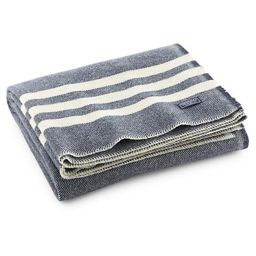 Trapper Merino Wool Throw, Slate/White
