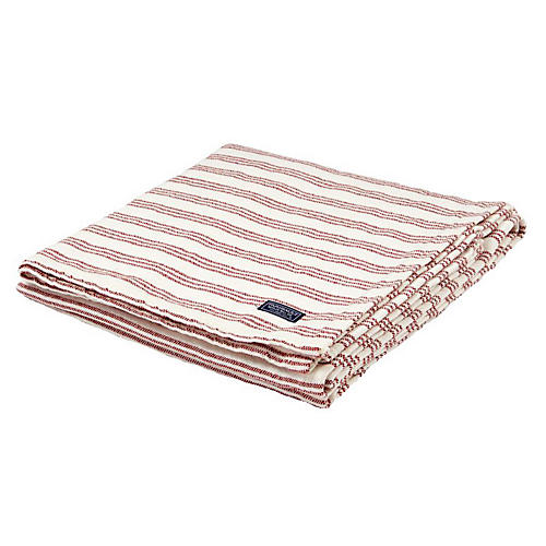 Beacon Stripe Cotton Throw, Red/White
