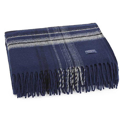 Border Plaid Merino Wool Throw, Navy/Heather Gray