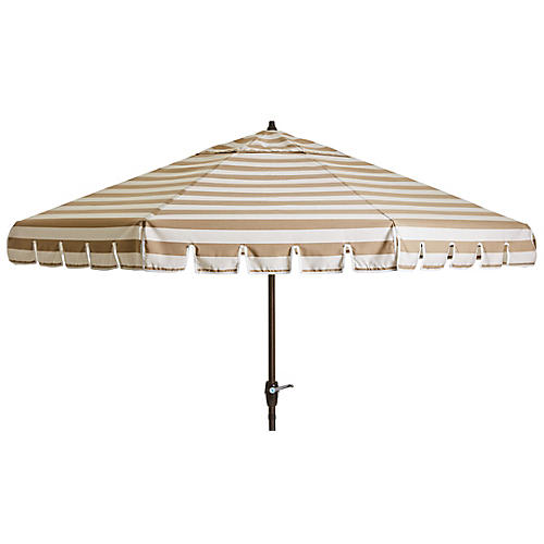 Poppy Patio Umbrella, Beige/White