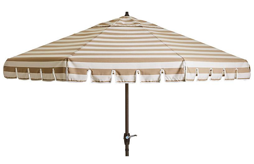 Poppy Patio Umbrella, Beige/White