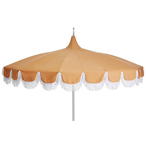 Aya Pagoda Fringe Patio Umbrella, Wheat
