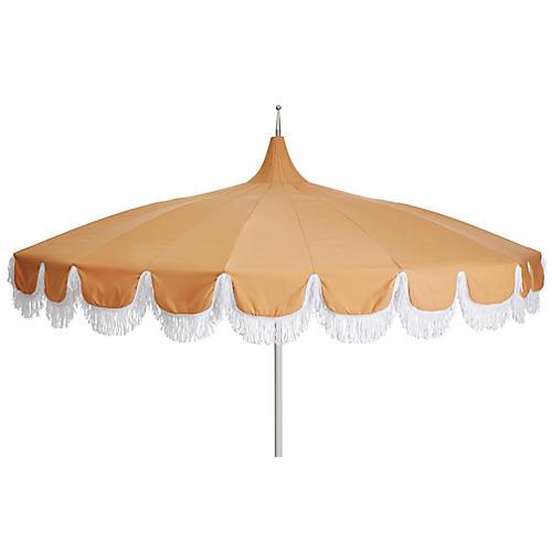 Aya Pagoda Fringe Patio Umbrella, Wheat