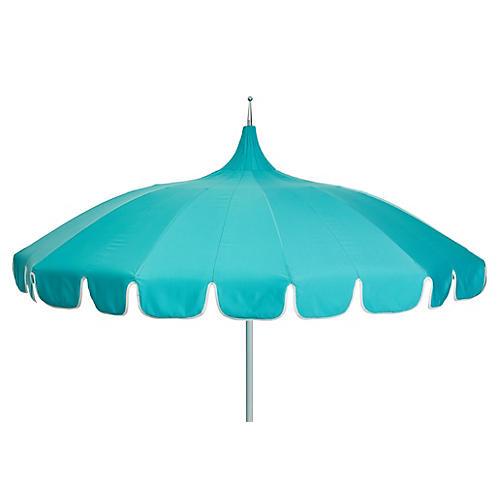 Aya Pagoda Patio Umbrella, Aqua/White