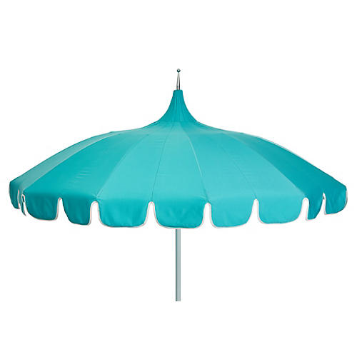 Aya Pagoda Patio Umbrella, Aqua/White