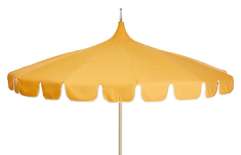 Aya Pagoda Patio Umbrella, Light Yellow/White