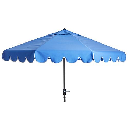 Phoebe Scallop-Edge Patio Umbrella, Sky Blue