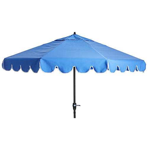 Phoebe Scallop-Edge Patio Umbrella, Sky Blue