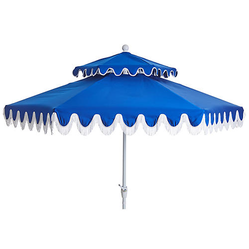 Daiana Two-Tier Fringe Patio Umbrella, Blue