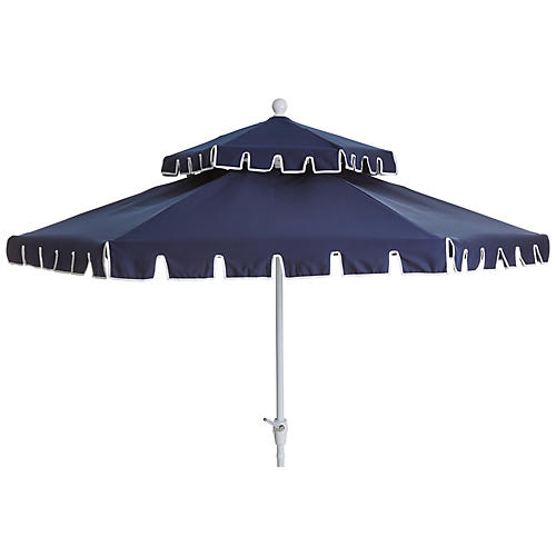 Poppy Two-Tier Patio Umbrella, Navy