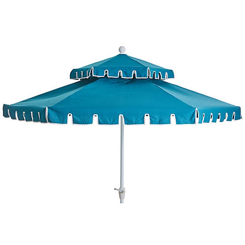 Poppy Two-Tier Patio Umbrella, Peacock