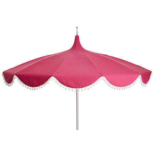 Dani Pom-Pom Patio Umbrella, Pink