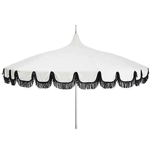 Aya Pagoda Fringe Patio Umbrella, White/Black