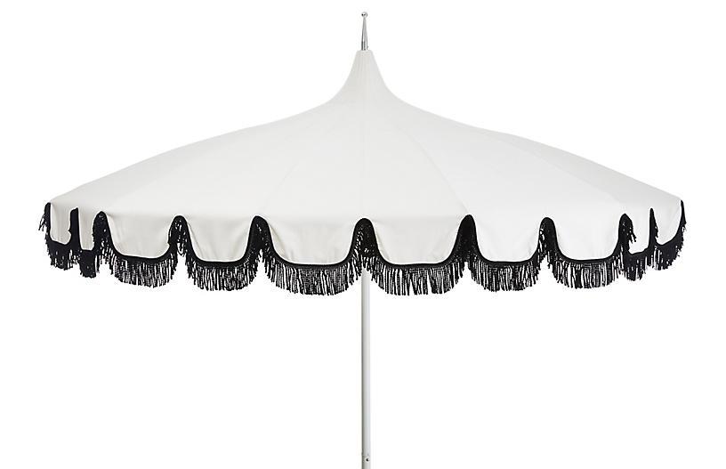 Aya Pagoda Fringe Patio Umbrella, White/Black