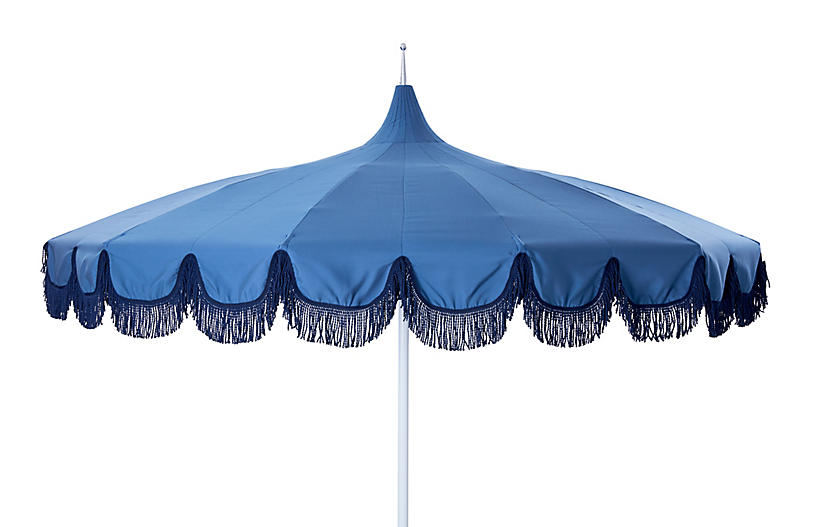 Aya Pagoda Fringe Patio Umbrella, Blue/Navy