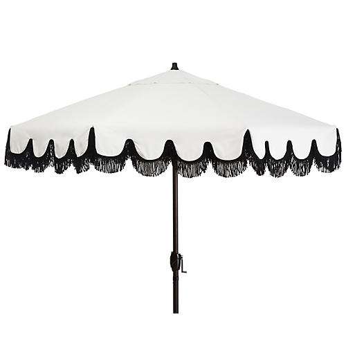 Phoebe Fringe Patio Umbrella, White/Black