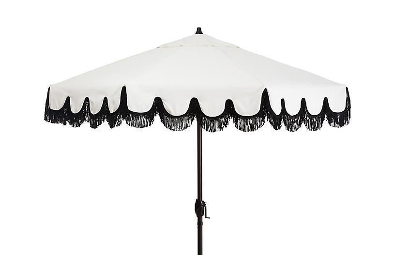 Phoebe Fringe Patio Umbrella, White/Black