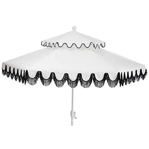 Daiana Two-Tier Fringe Patio Umbrella, White/Black