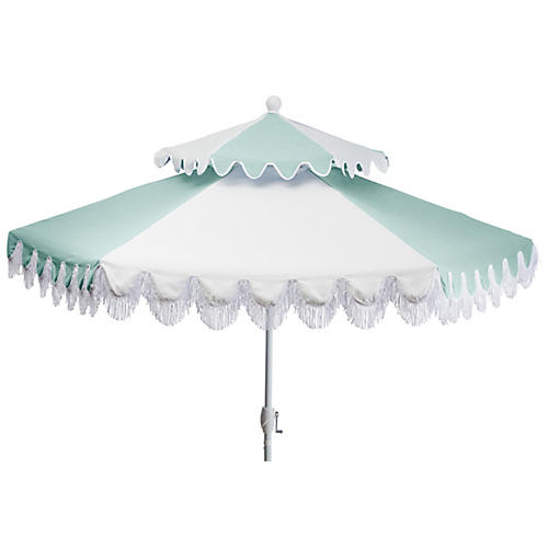 Ginny Two-Tier Patio Umbrella, Mint/White