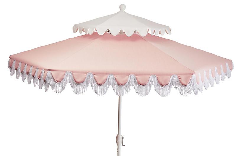 Anna Two-Tier Patio Umbrella, Light Pink/White
