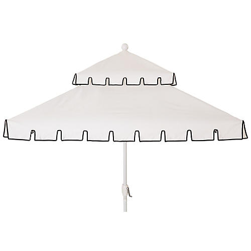 Liz Two-Tier Square Patio Umbrella, White/Black