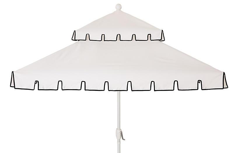 Liz Two-Tier Square Patio Umbrella, White/Black