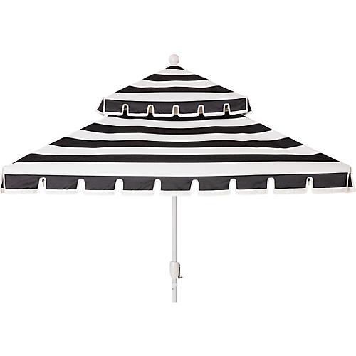 Liz Two-Tier Square Patio Umbrella, Black/White