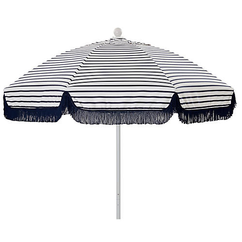 Elle Round Patio Umbrella, Indigo/White