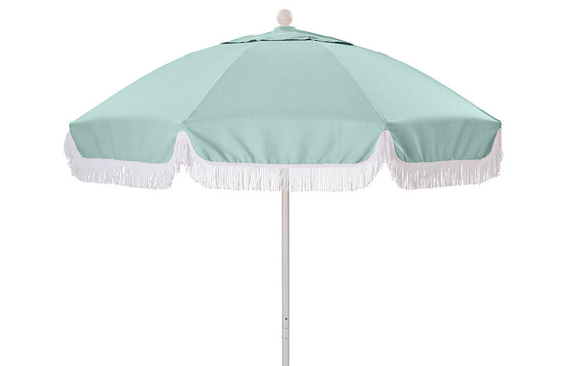 Elle Round Patio Umbrella, Mint/White