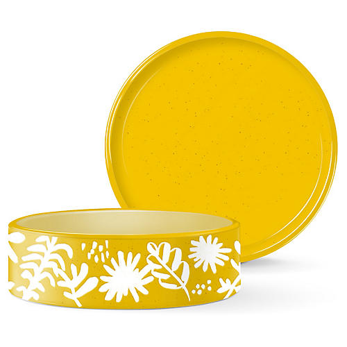 Desert Flower Pet Bowl, Yellow/White