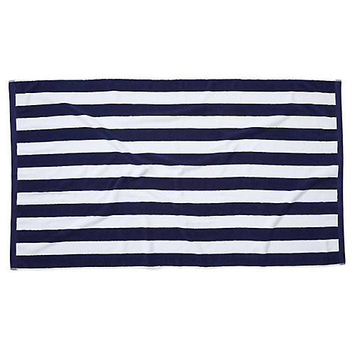 Classic Cabana Stripe Beach Towel, Navy