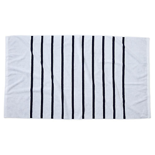 Breton Stripe Beach Towel, White/Navy