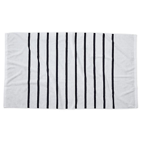 Breton Stripe Beach Towel, Black
