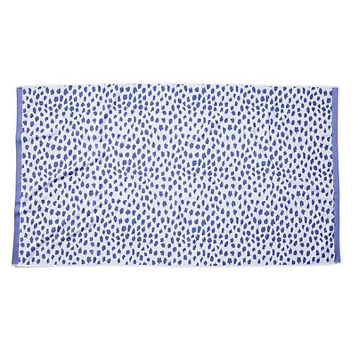 Leopard-Spot Beach Towel, Periwinkle