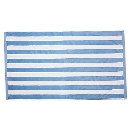 Classic Cabana Stripe Beach Towel, Powder Blue