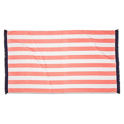 Cabana Fringed Beach Towel, Blush/Navy