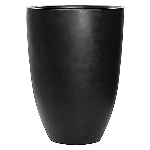 "29"" Bellino Round Planter, Black"