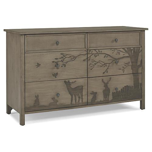 Forest Animal 6-Drawer Dresser, Natural Gray