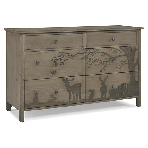 Forest Animal 6-Drawer Dresser, Natural Gray