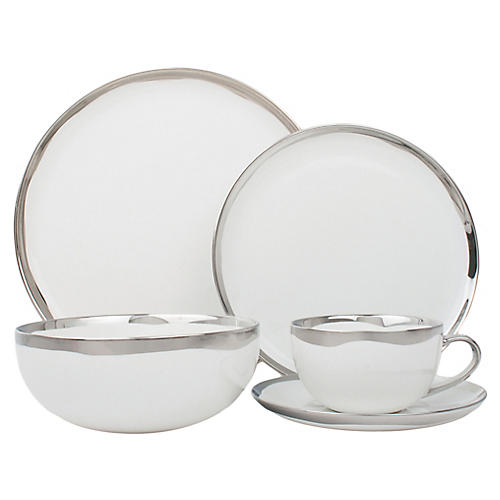 Asst. of 5 Dauville Place Setting, Platinum/White