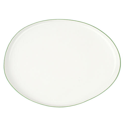 Abbesses Serving Platter, White/Green