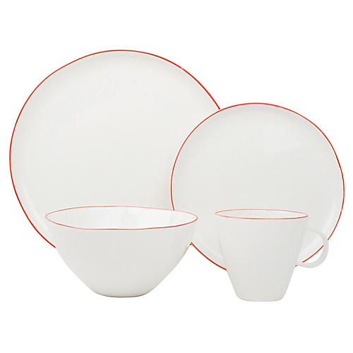 Asst. of 4 Abbesses Place Setting, White/Red